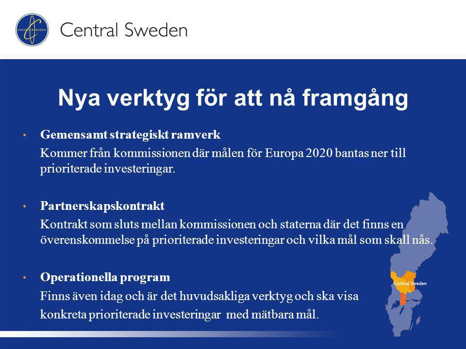 Nya verktyg för att nå framgång Gemensamt strategiskt ramverk Kommer från kommissionen där målen för Europa 2020 bantas ner till prioriterade investeringar.