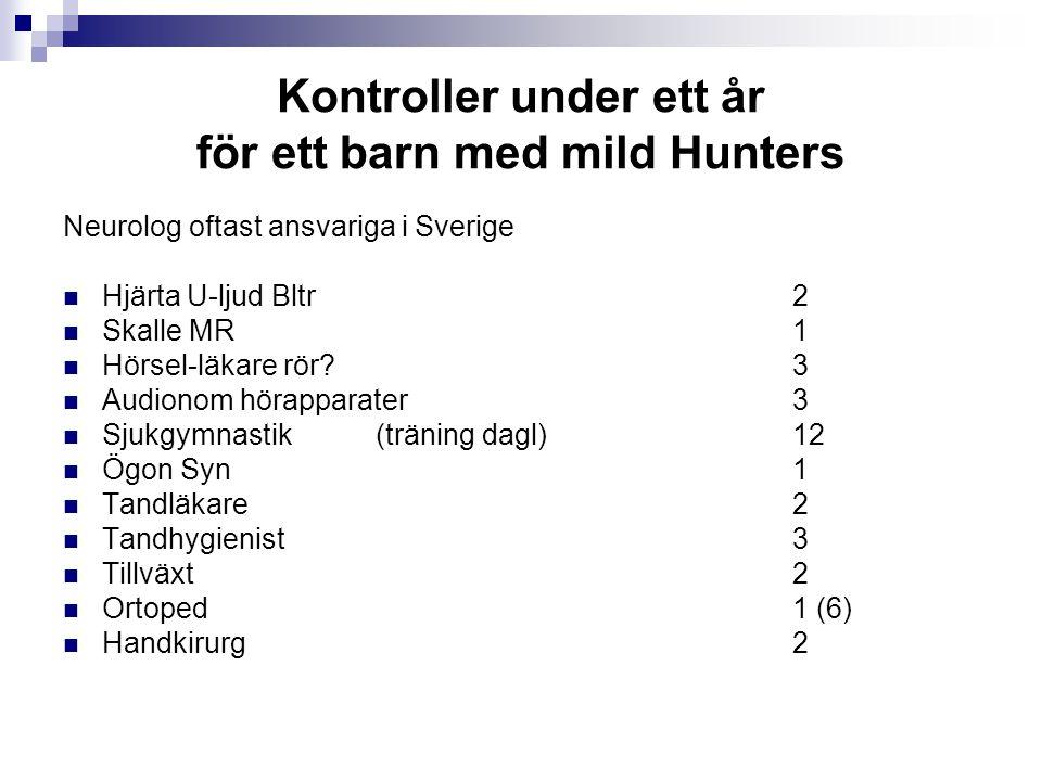 Kontroller under ett år för ett barn med mild Hunters Neurolog oftast ansvariga i Sverige Hjärta U-ljud Bltr2 Skalle MR 1 Hörsel-läkare rör? 3 Audiono