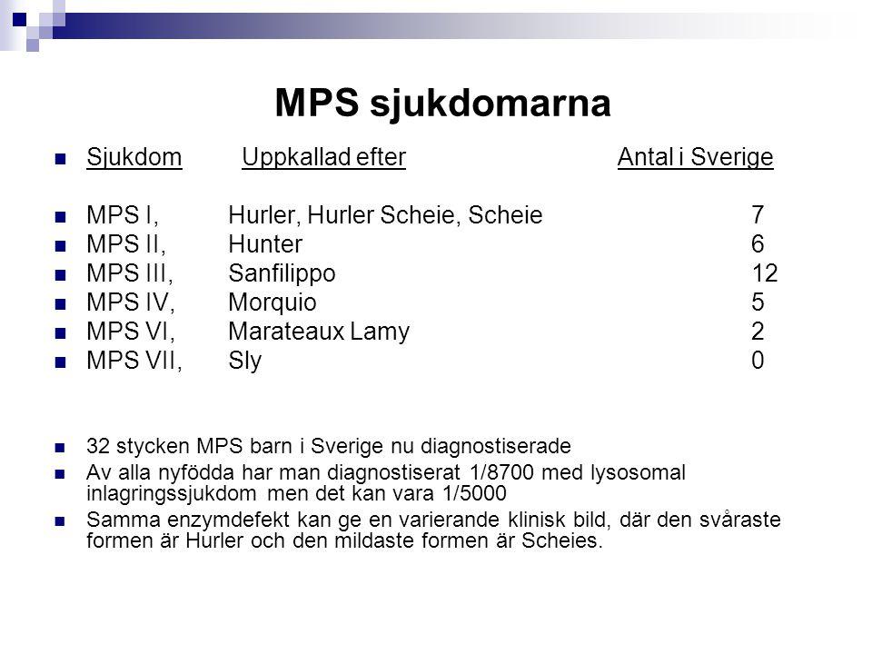 MPS sjukdomarna Sjukdom Uppkallad efter Antal i Sverige MPS I, Hurler, Hurler Scheie, Scheie 7 MPS II, Hunter 6 MPS III, Sanfilippo 12 MPS IV, Morquio