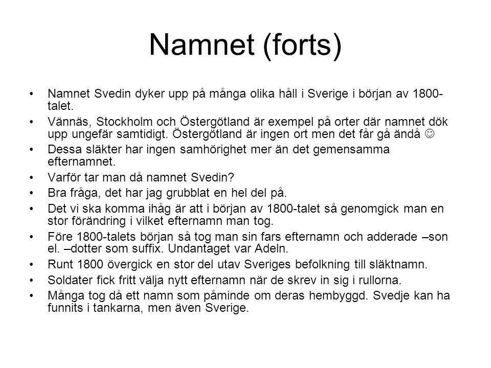 Namnet (forts) Namnet Svedin dyker upp på många olika håll i Sverige i början av 1800- talet. Vännäs, Stockholm och Östergötland är exempel på orter