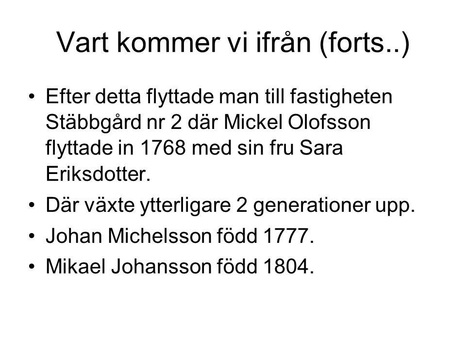 Vart kommer vi ifrån (forts..) Efter detta flyttade man till fastigheten Stäbbgård nr 2 där Mickel Olofsson flyttade in 1768 med sin fru Sara Eriksdo