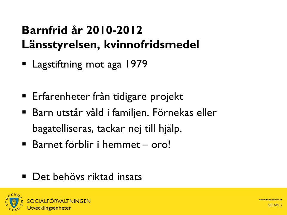 Barnfrid år 2010-2012 Länsstyrelsen, kvinnofridsmedel  Lagstiftning mot aga 1979  Erfarenheter från tidigare projekt  Barn utstår våld i familjen.