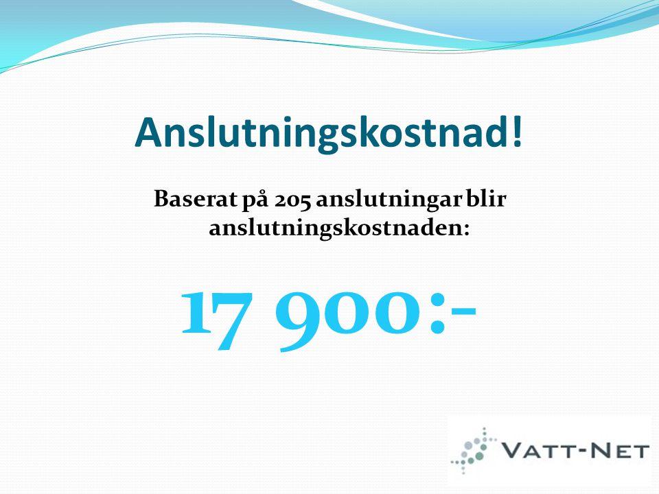 Anslutningskostnad! Baserat på 205 anslutningar blir anslutningskostnaden: 17 900:-