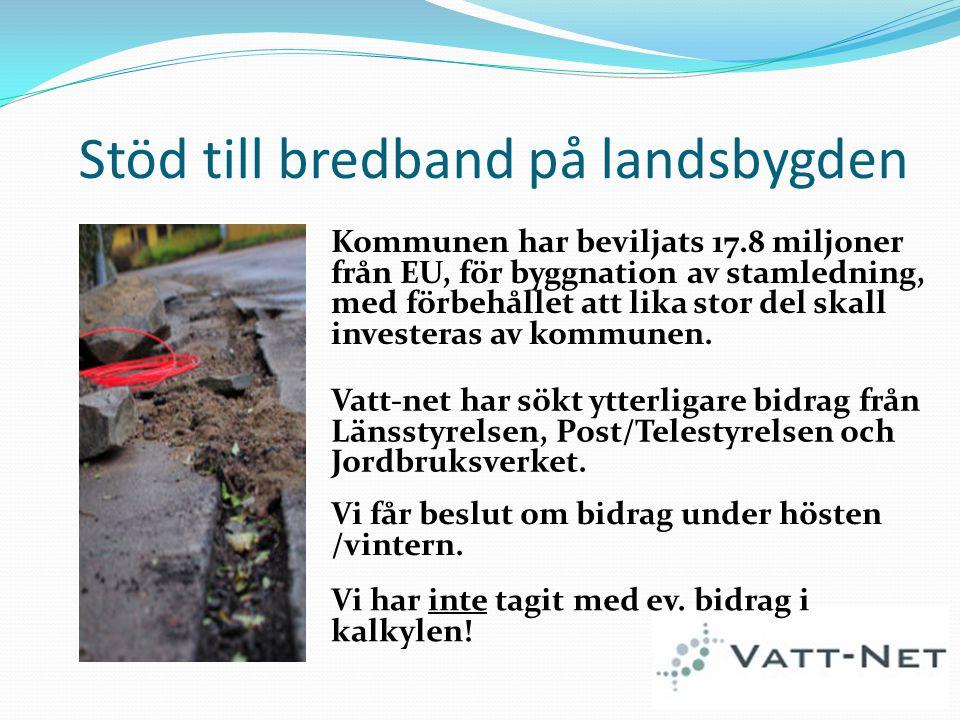 Stöd till bredband på landsbygden Kommunen har beviljats 17.8 miljoner från EU, för byggnation av stamledning, med förbehållet att lika stor del skall