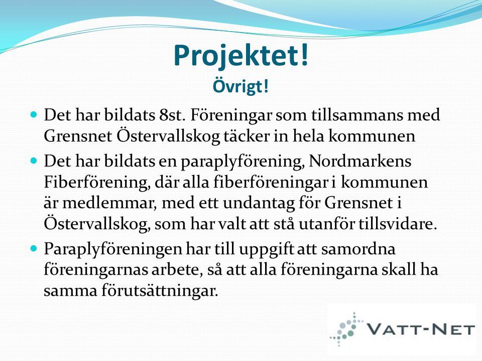 Projektet! Övrigt! Det har bildats 8st. Föreningar som tillsammans med Grensnet Östervallskog täcker in hela kommunen Det har bildats en paraplyföreni