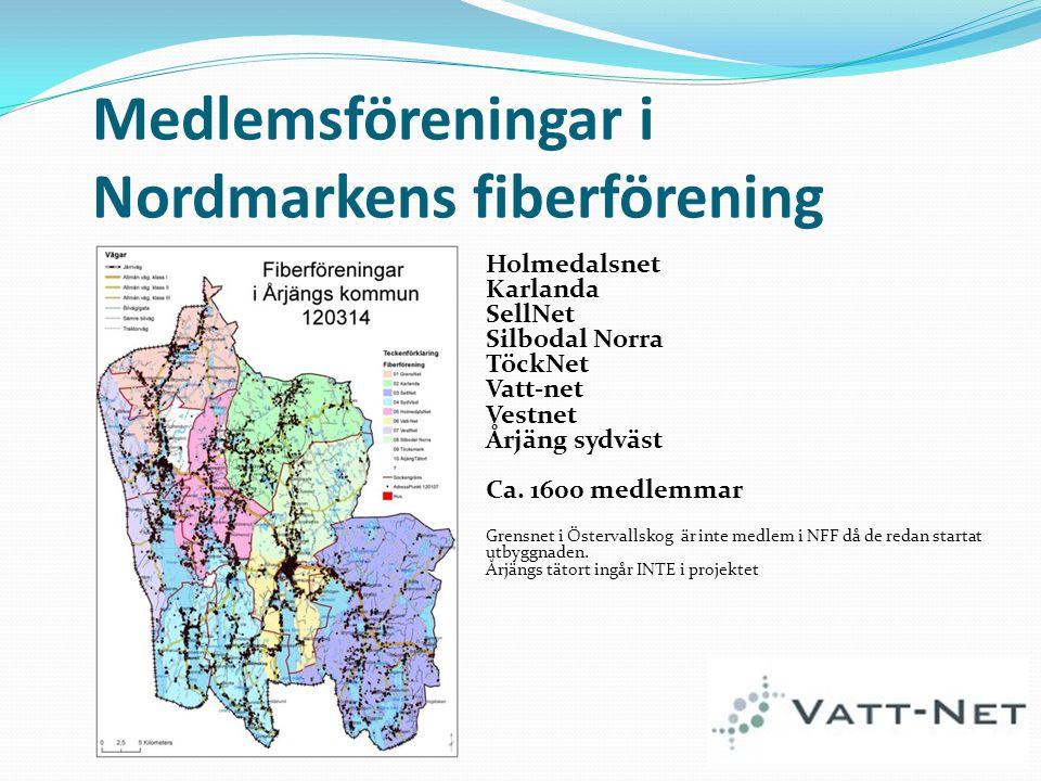 Medlemsföreningar i Nordmarkens fiberförening Holmedalsnet Karlanda SellNet Silbodal Norra TöckNet Vatt-net Vestnet Årjäng sydväst Ca. 1600 medlemmar