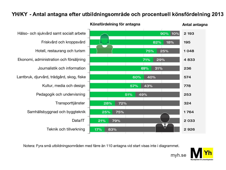 myh.se YH/KY - Antal antagna efter utbildningsområde och procentuell könsfördelning 2013