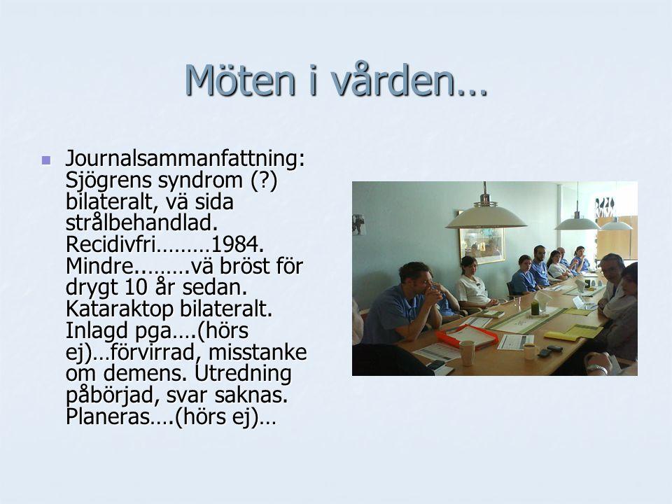 Journalsammanfattning: Sjögrens syndrom (?) bilateralt, vä sida strålbehandlad. Recidivfri………1984. Mindre..…….vä bröst för drygt 10 år sedan. Katarakt