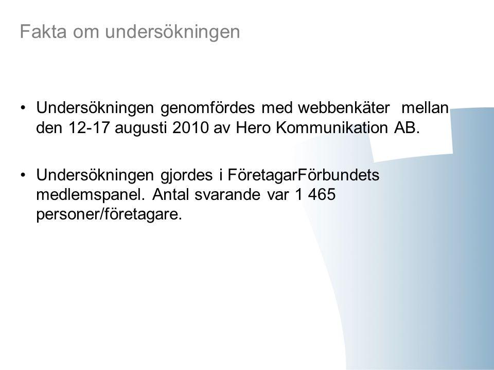 Fakta om undersökningen Undersökningen genomfördes med webbenkäter mellan den 12-17 augusti 2010 av Hero Kommunikation AB. Undersökningen gjordes i Fö
