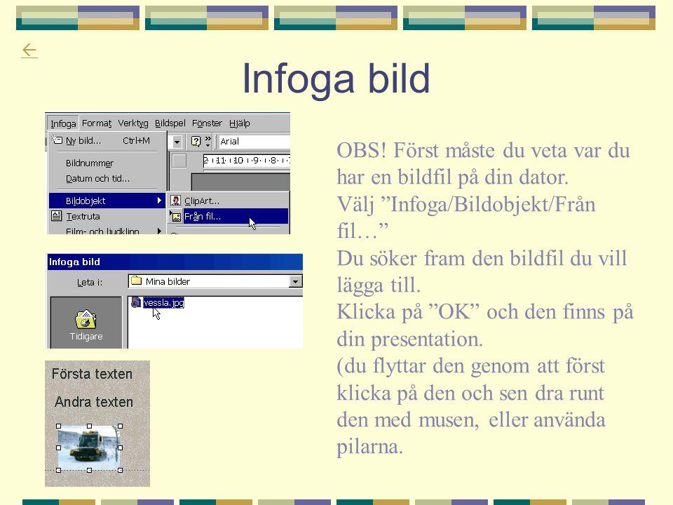 """ Infoga bild OBS! Först måste du veta var du har en bildfil på din dator. Välj """"Infoga/Bildobjekt/Från fil…"""" Du söker fram den bildfil du vill lägga"""