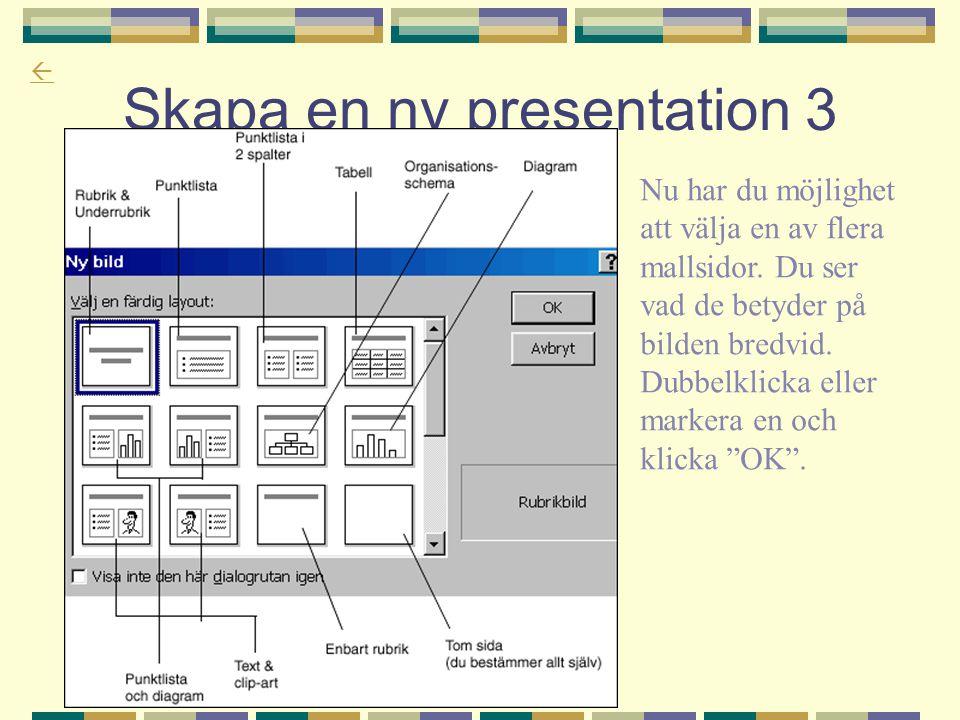  Skapa en ny presentation 3 Nu har du möjlighet att välja en av flera mallsidor. Du ser vad de betyder på bilden bredvid. Dubbelklicka eller markera