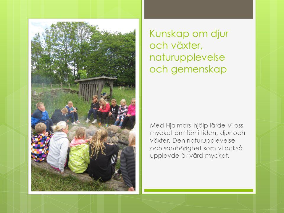Kunskap om djur och växter, naturupplevelse och gemenskap Med Hjalmars hjälp lärde vi oss mycket om förr i tiden, djur och växter. Den naturupplevelse