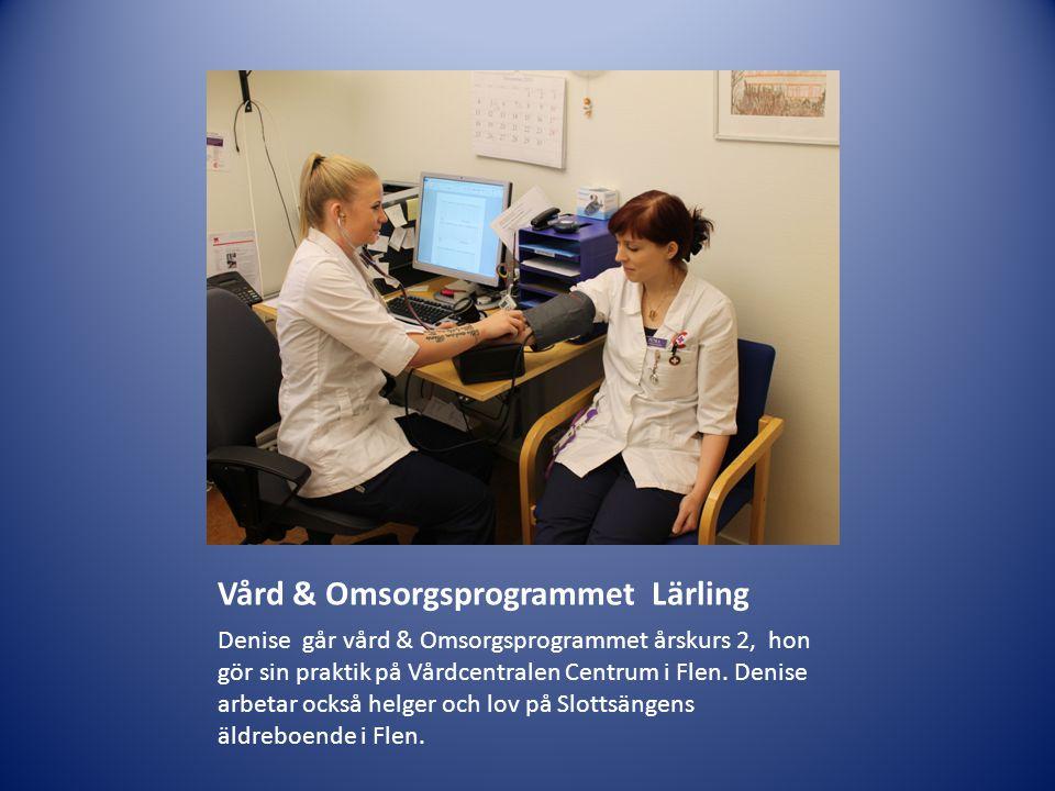 Vård & Omsorgsprogrammet Lärling Denise går vård & Omsorgsprogrammet årskurs 2, hon gör sin praktik på Vårdcentralen Centrum i Flen. Denise arbetar oc