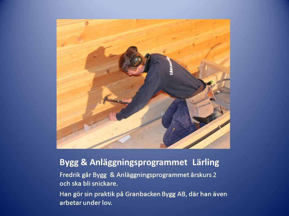 Bygg & Anläggningsprogrammet Lärling Fredrik går Bygg & Anläggningsprogrammet årskurs 2 och ska bli snickare. Han gör sin praktik på Granbacken Bygg A