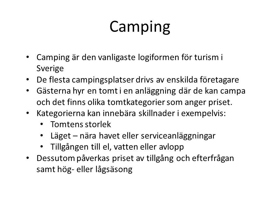 Camping är den vanligaste logiformen för turism i Sverige De flesta campingsplatser drivs av enskilda företagare Gästerna hyr en tomt i en anläggning