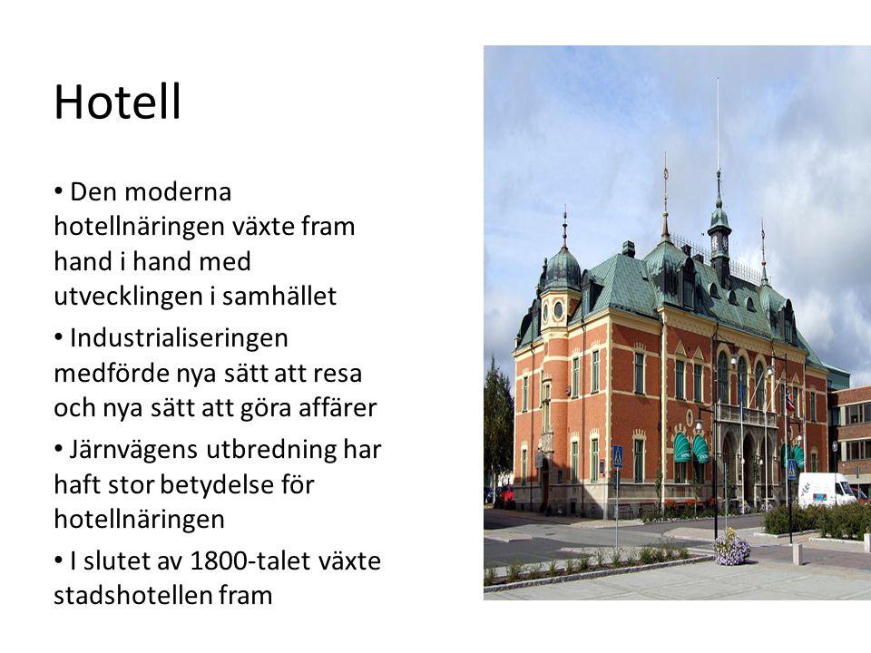 Hotell Den moderna hotellnäringen växte fram hand i hand med utvecklingen i samhället Industrialiseringen medförde nya sätt att resa och nya sätt att