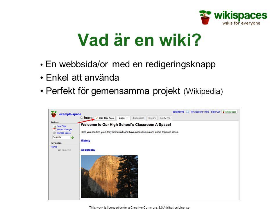 Manage wiki Sida där du hittar administrativa verktyg och får överblick över sidor, filer medlemmar och mycket mer This work is licensed under a Creative Commons 3.0 Attribution License