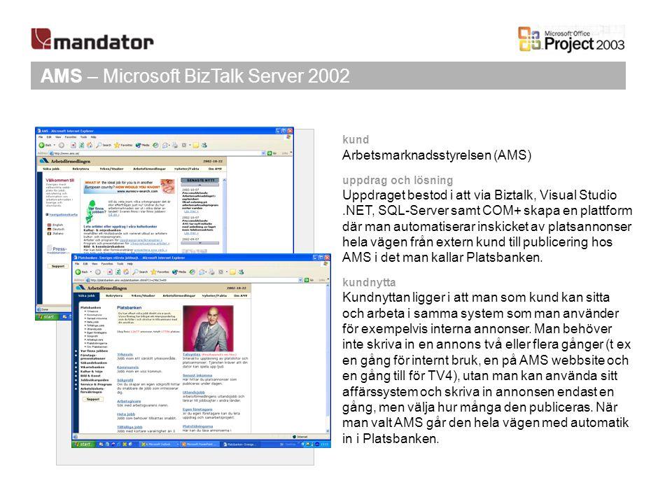 AMS – Microsoft BizTalk Server 2002 kund Arbetsmarknadsstyrelsen (AMS) uppdrag och lösning Uppdraget bestod i att via Biztalk, Visual Studio.NET, SQL-