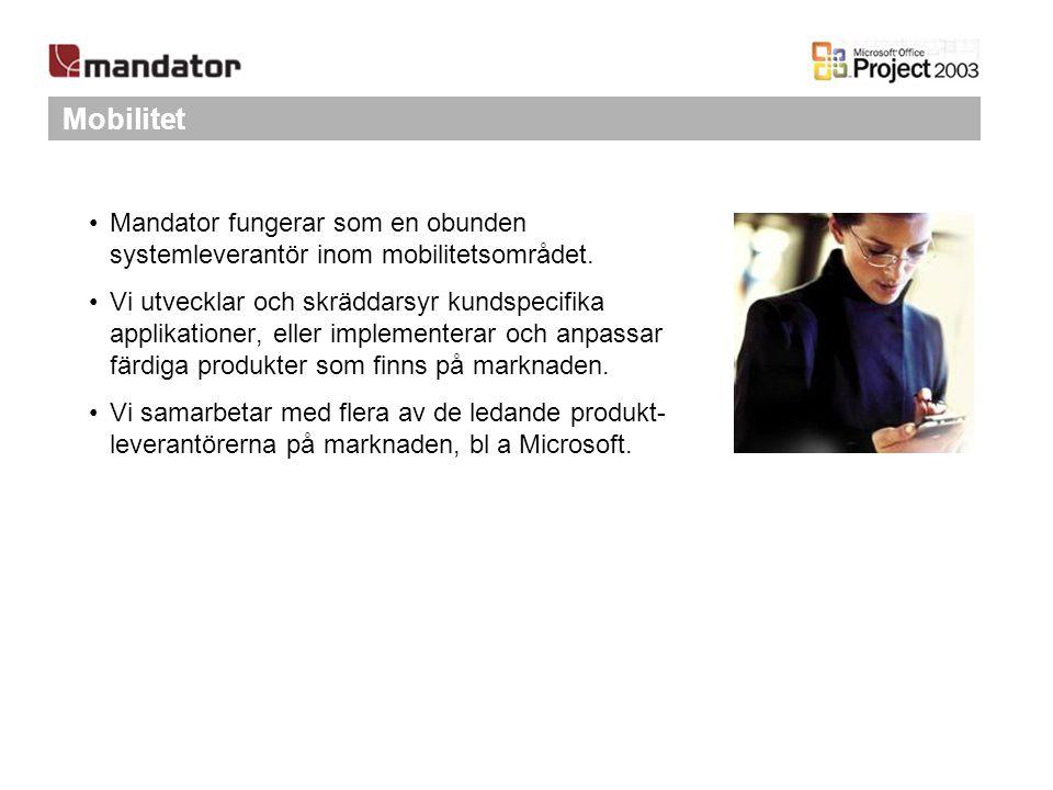 Mobilitet Mandator fungerar som en obunden systemleverantör inom mobilitetsområdet. Vi utvecklar och skräddarsyr kundspecifika applikationer, eller im