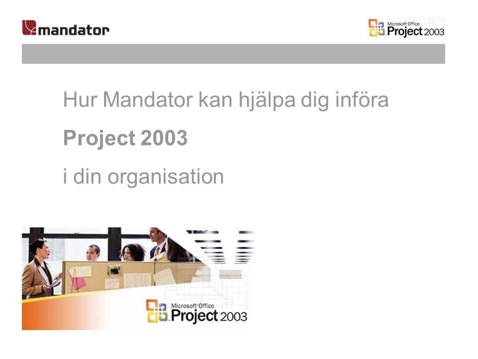 Hur Mandator kan hjälpa dig införa Project 2003 i din organisation