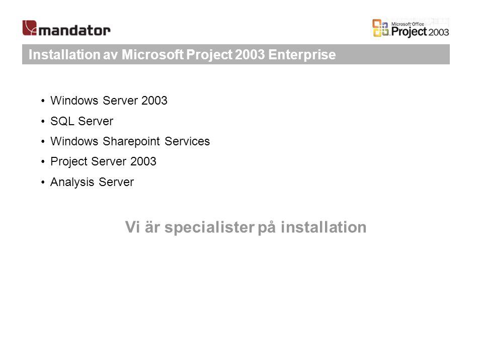 Installation av Microsoft Project 2003 Enterprise Windows Server 2003 SQL Server Windows Sharepoint Services Project Server 2003 Analysis Server Vi är