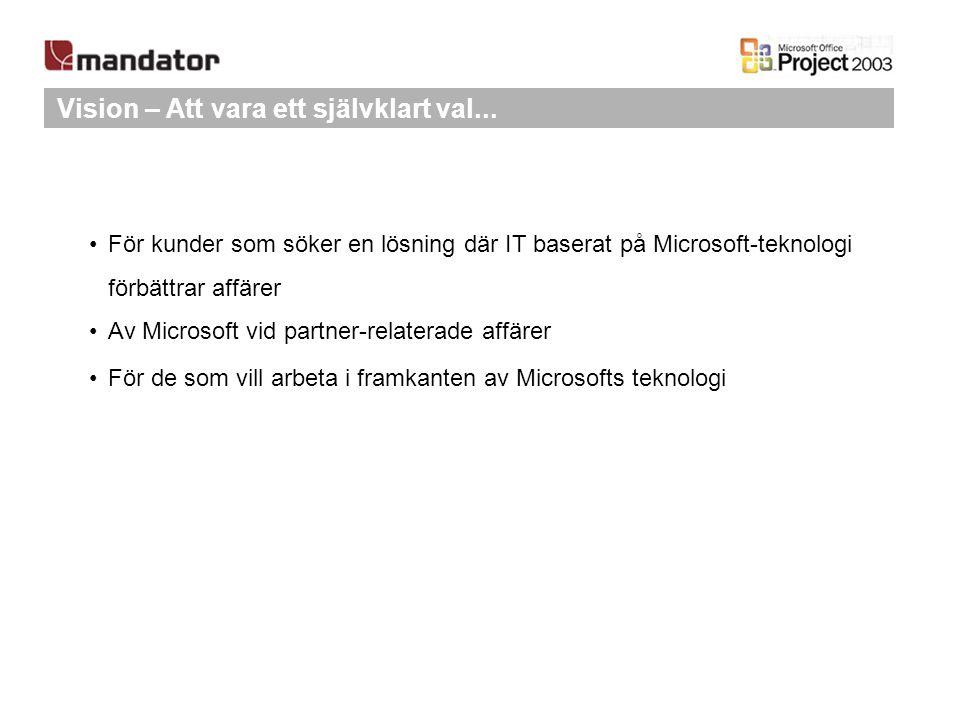 Vision – Att vara ett självklart val... För kunder som söker en lösning där IT baserat på Microsoft-teknologi förbättrar affärer Av Microsoft vid part