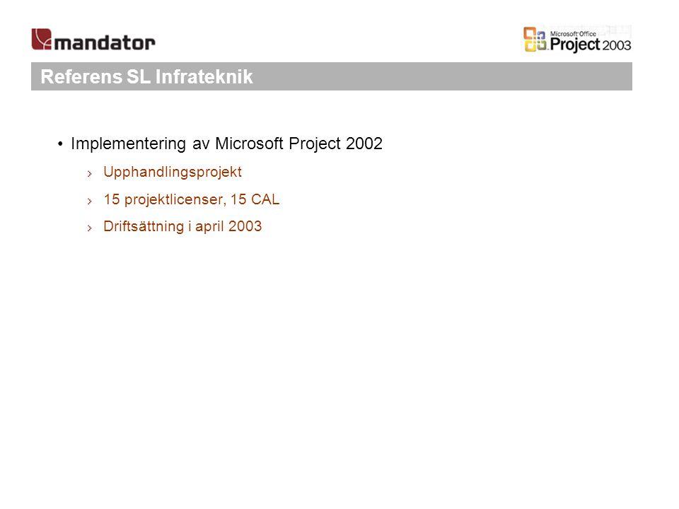 Referens SL Infrateknik Implementering av Microsoft Project 2002 Upphandlingsprojekt 15 projektlicenser, 15 CAL Driftsättning i april 2003