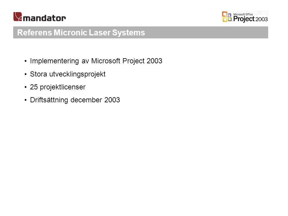 Referens Micronic Laser Systems Implementering av Microsoft Project 2003 Stora utvecklingsprojekt 25 projektlicenser Driftsättning december 2003