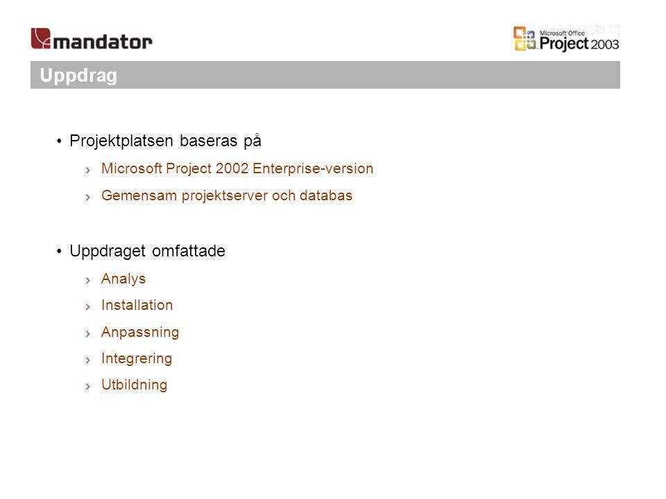 Uppdrag Projektplatsen baseras på Microsoft Project 2002 Enterprise-version Gemensam projektserver och databas Uppdraget omfattade Analys Installation