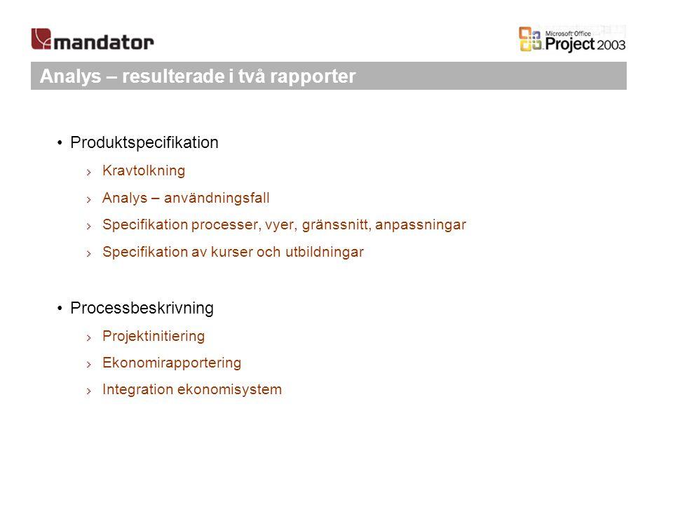 Analys – resulterade i två rapporter Produktspecifikation Kravtolkning Analys – användningsfall Specifikation processer, vyer, gränssnitt, anpassninga