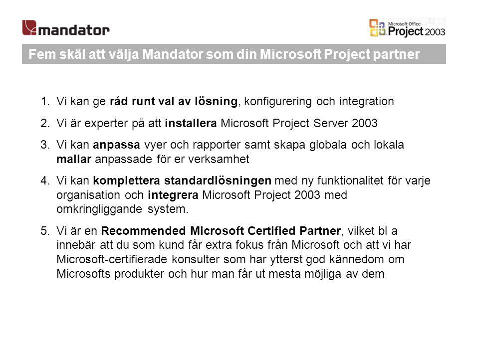 Fem skäl att välja Mandator som din Microsoft Project partner 1.Vi kan ge råd runt val av lösning, konfigurering och integration 2.Vi är experter på a