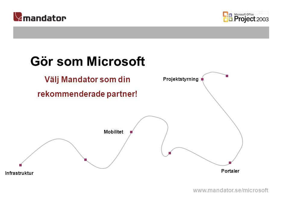 Infrastruktur Mobilitet Portaler Projektstyrning Gör som Microsoft Välj Mandator som din rekommenderade partner! www.mandator.se/microsoft