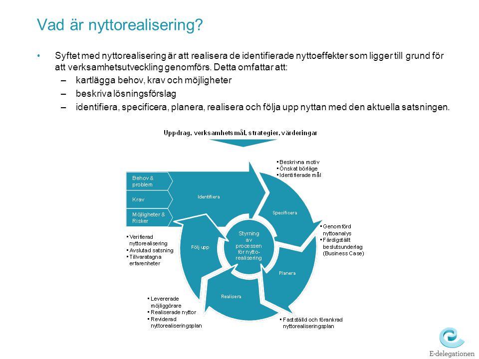 Vad är nyttorealisering? Syftet med nyttorealisering är att realisera de identifierade nyttoeffekter som ligger till grund för att verksamhetsutveckli