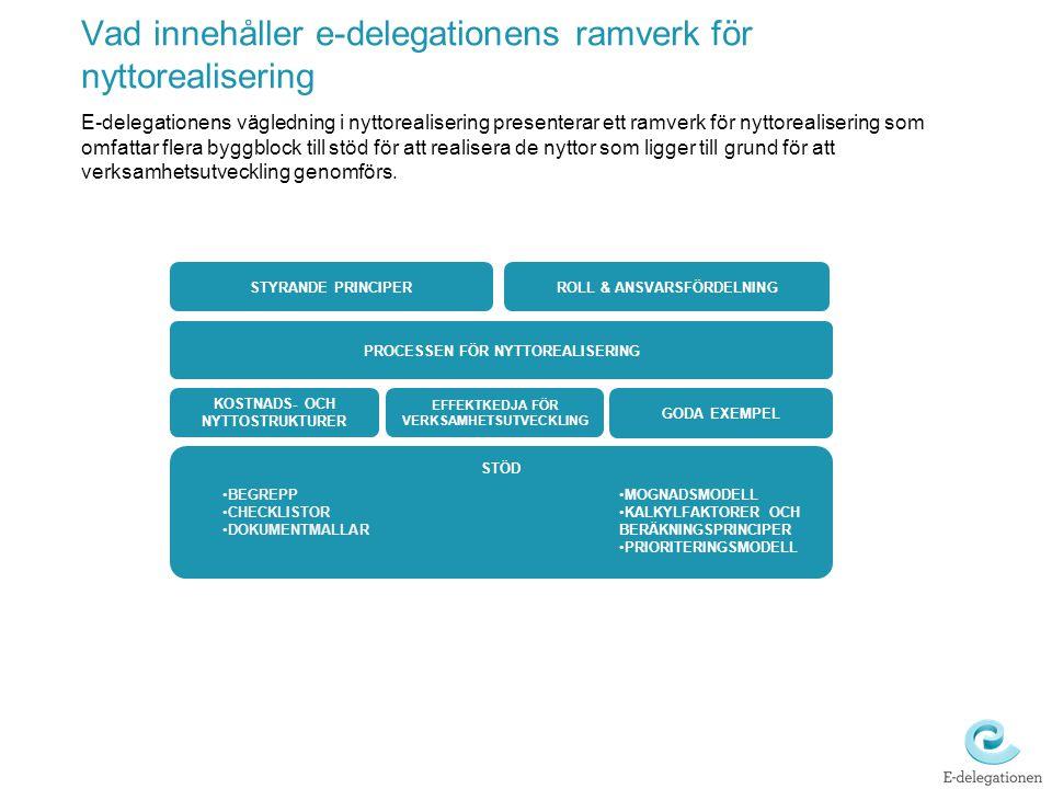 Vad innehåller e-delegationens ramverk för nyttorealisering E-delegationens vägledning i nyttorealisering presenterar ett ramverk för nyttorealisering