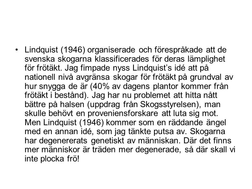 Lindquist (1946) organiserade och förespråkade att de svenska skogarna klassificerades för deras lämplighet för frötäkt. Jag fimpade nyss Lindquist's