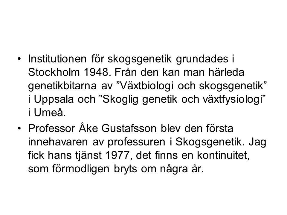 """Institutionen för skogsgenetik grundades i Stockholm 1948. Från den kan man härleda genetikbitarna av """"Växtbiologi och skogsgenetik"""" i Uppsala och """"Sk"""