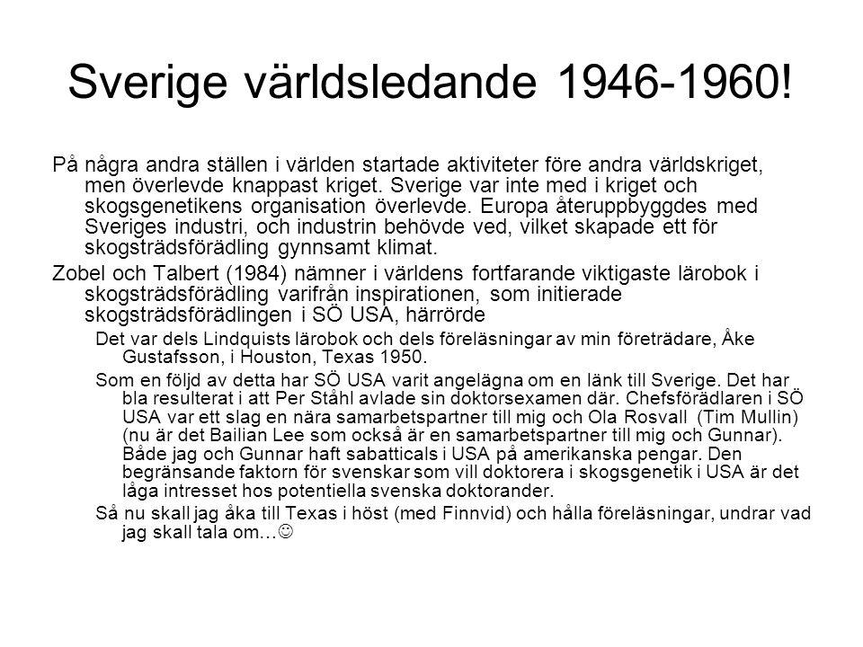 Sverige världsledande 1946-1960! På några andra ställen i världen startade aktiviteter före andra världskriget, men överlevde knappast kriget. Sverige