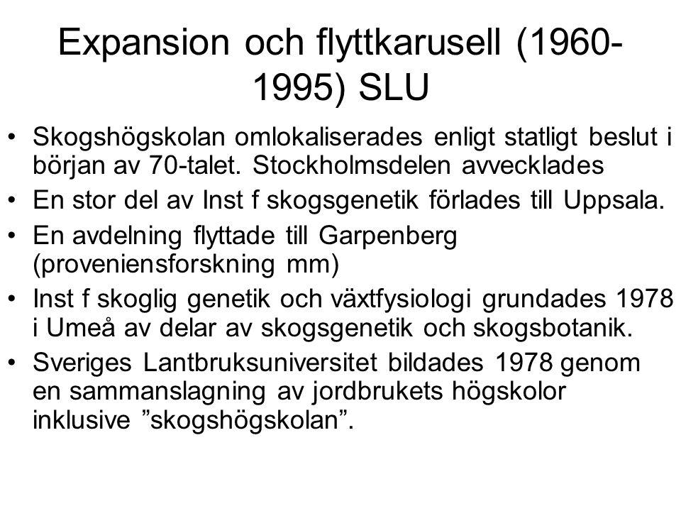 Expansion och flyttkarusell (1960- 1995) SLU Skogshögskolan omlokaliserades enligt statligt beslut i början av 70-talet. Stockholmsdelen avvecklades E