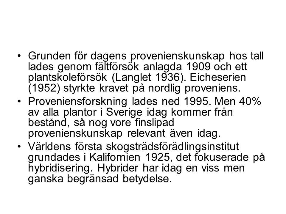 Grunden för dagens provenienskunskap hos tall lades genom fältförsök anlagda 1909 och ett plantskoleförsök (Langlet 1936). Eicheserien (1952) styrkte