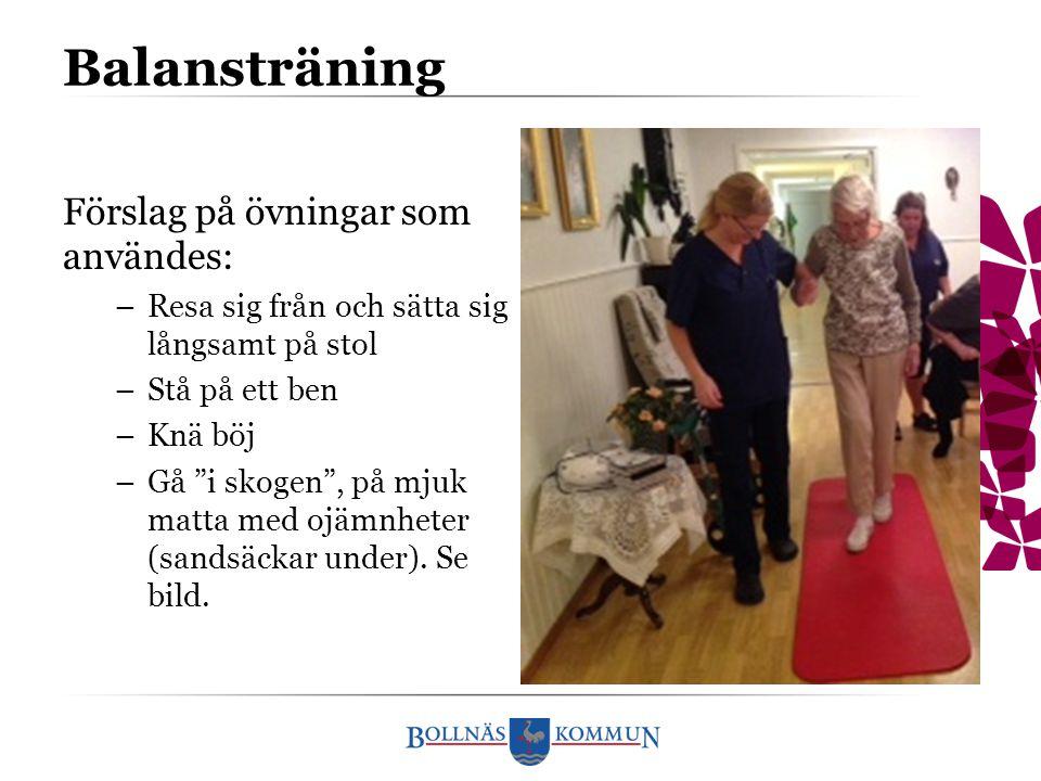 """Balansträning Förslag på övningar som användes: –Resa sig från och sätta sig långsamt på stol –Stå på ett ben –Knä böj –Gå """"i skogen"""", på mjuk matta m"""