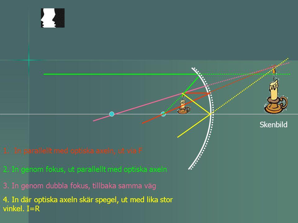Skenbild 1.In parallellt med optiska axeln, ut via F 2. In genom fokus, ut parallellt med optiska axeln 3. In genom dubbla fokus, tillbaka samma väg 4