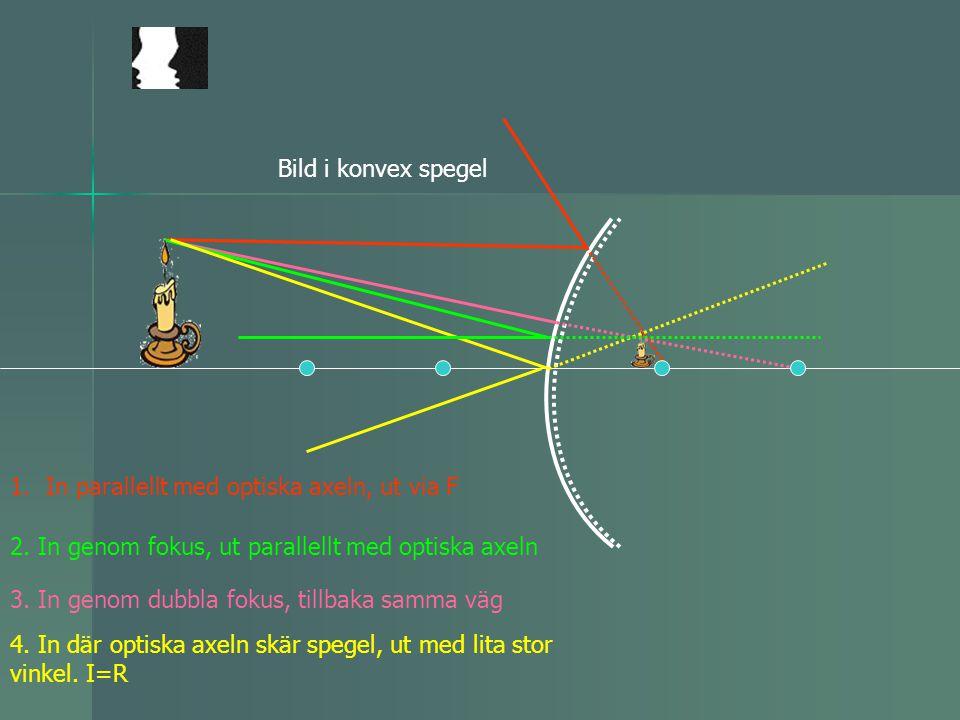 1.In parallellt med optiska axeln, ut via F 2. In genom fokus, ut parallellt med optiska axeln 3. In genom dubbla fokus, tillbaka samma väg 4. In där