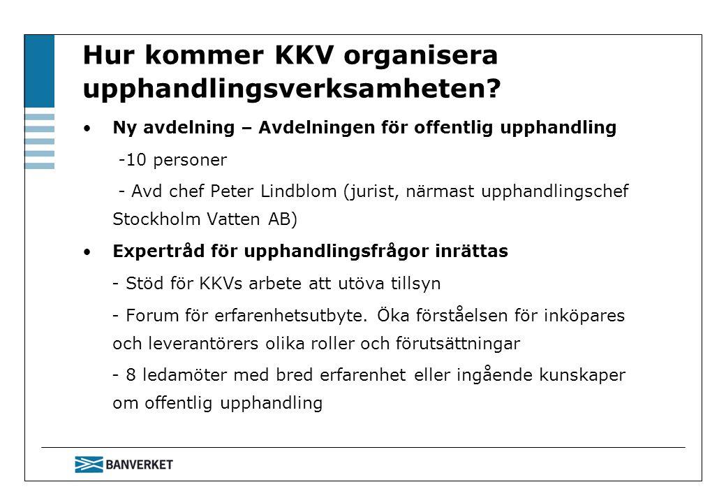 Hur kommer KKV organisera upphandlingsverksamheten? Ny avdelning – Avdelningen för offentlig upphandling -10 personer - Avd chef Peter Lindblom (juris