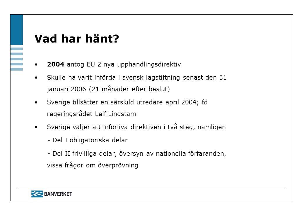 Vad har hänt? 2004 antog EU 2 nya upphandlingsdirektiv Skulle ha varit införda i svensk lagstiftning senast den 31 januari 2006 (21 månader efter besl