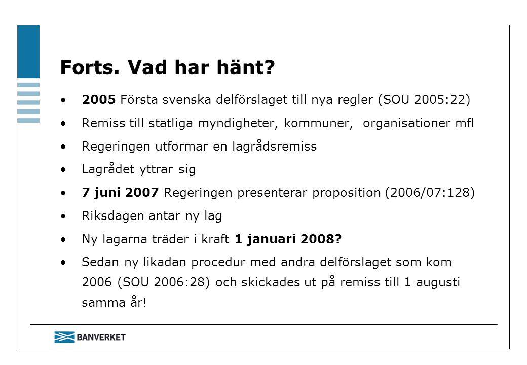 Forts. Vad har hänt? 2005 Första svenska delförslaget till nya regler (SOU 2005:22) Remiss till statliga myndigheter, kommuner, organisationer mfl Reg