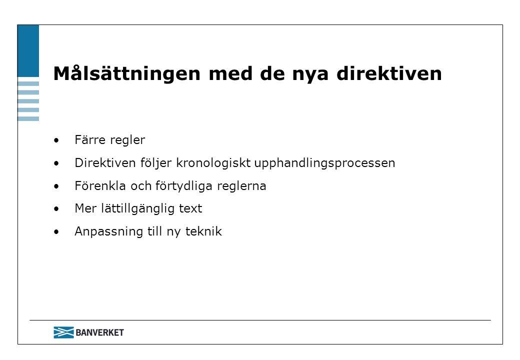 Målsättningen med de nya direktiven Färre regler Direktiven följer kronologiskt upphandlingsprocessen Förenkla och förtydliga reglerna Mer lättillgäng