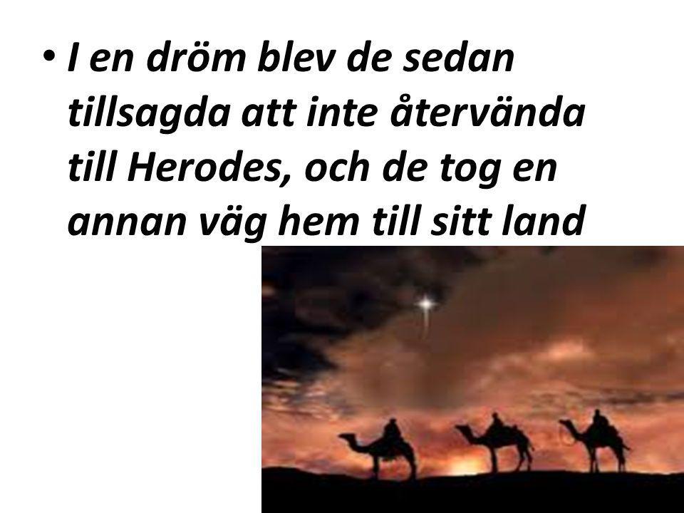 I en dröm blev de sedan tillsagda att inte återvända till Herodes, och de tog en annan väg hem till sitt land