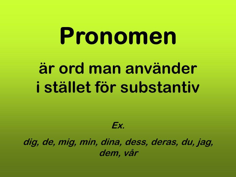 är ord man använder i stället för substantiv Ex. dig, de, mig, min, dina, dess, deras, du, jag, dem, vår