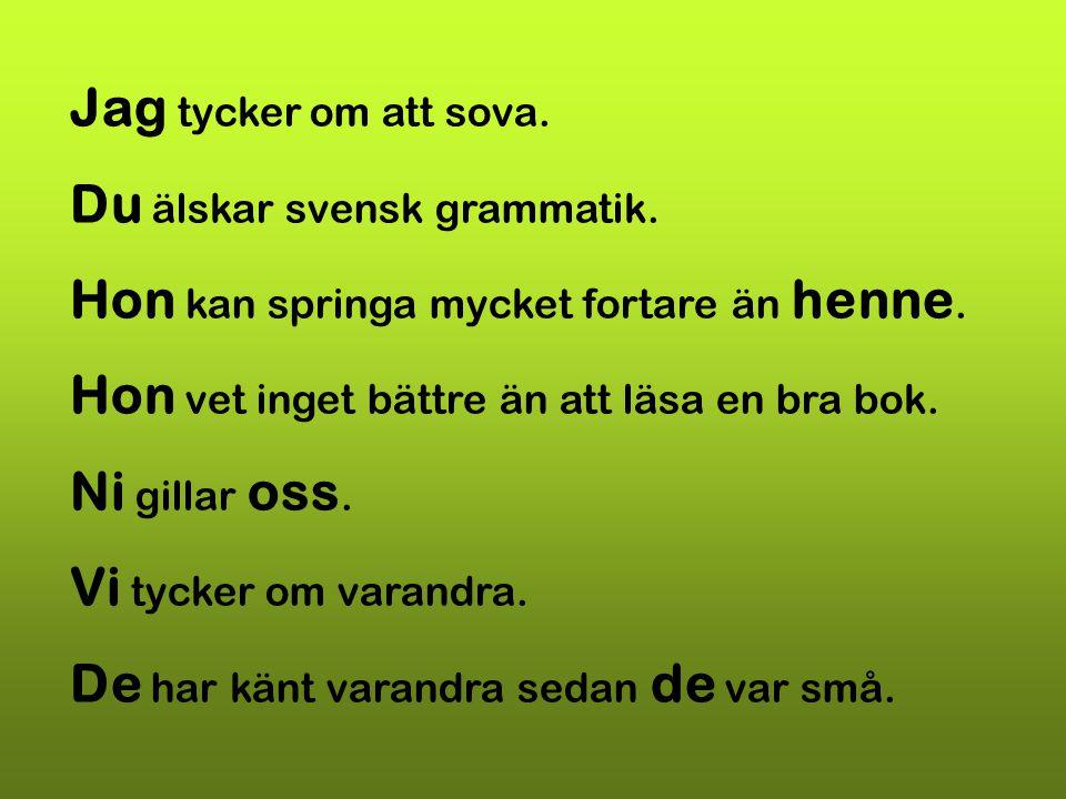 Jag tycker om att sova. Du älskar svensk grammatik. Hon kan springa mycket fortare än henne. Hon vet inget bättre än att läsa en bra bok. Ni gillar os
