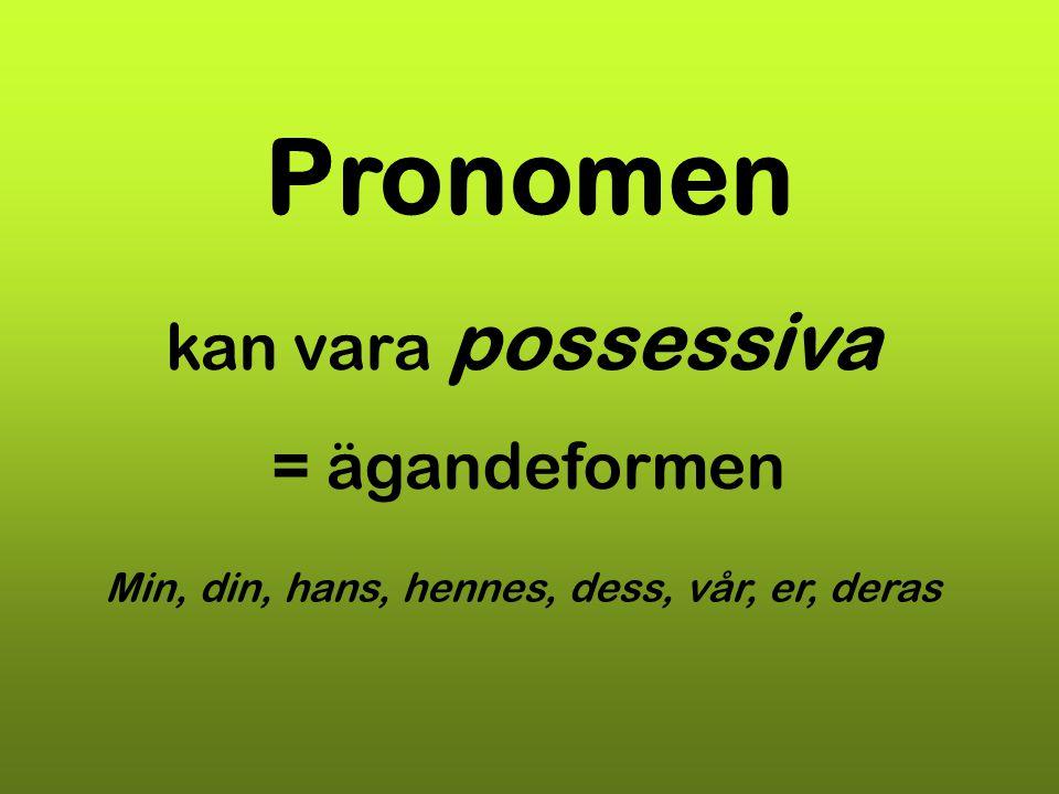 Pronomen kan vara possessiva = ägandeformen Min, din, hans, hennes, dess, vår, er, deras